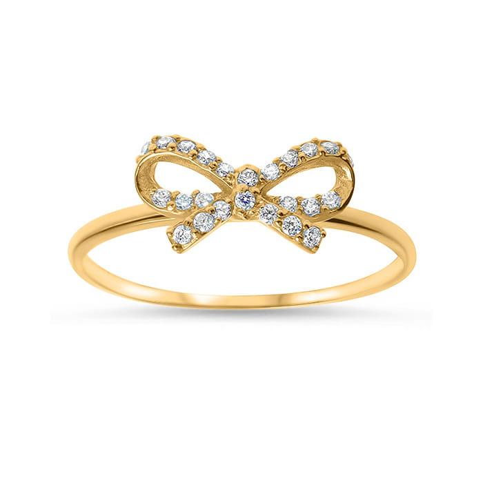 c220ef569343d9 Złoty pierścionek z cyrkoniami 333 kokardka roz. 16   Biżuteria ...
